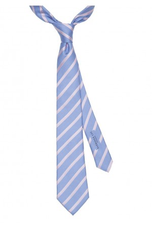 Sky Blue and Pink Stripe Tie